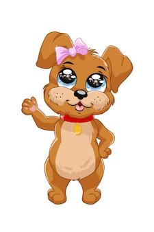 Коричневая собака голубые глаза в розовом банте