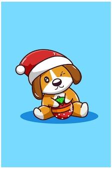 Коричневая собака с елочным шаром в рождественской шапке