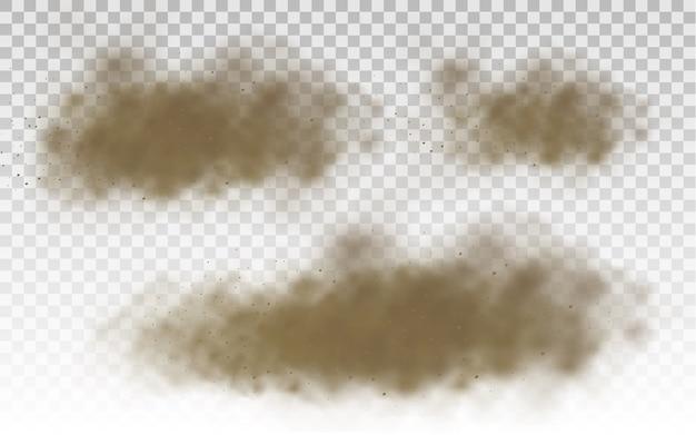 Brown dusty cloud or dry sand flying, sandstorm.