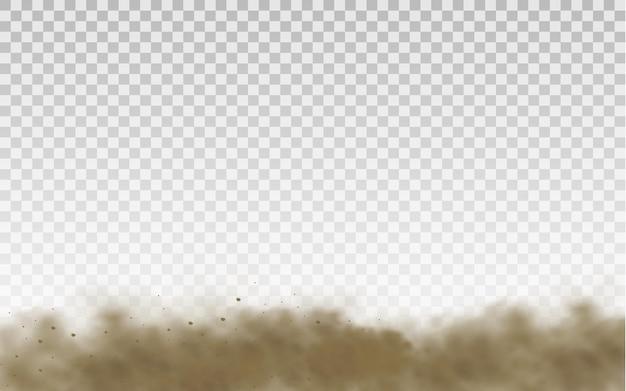 갈색 먼지 구름 또는 마른 모래 비행