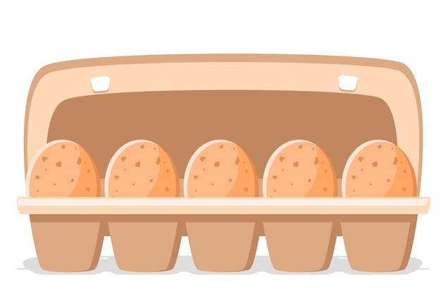 白い背景の上の開いた紙トレイの茶色の卵