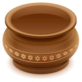 Brown empty clay ceramic pot