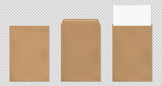 Brown envelope a4 template, blank paper covers set