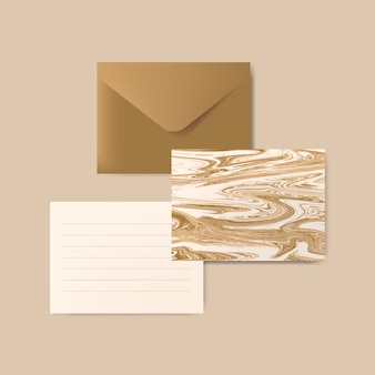 Brown envelope with letter and marble abstract postcard