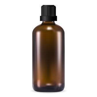 브라운 에센셜 오일 병. 검은 색 나사 뚜껑이있는 호박색 의료용 바이알. 현실적인 e 주스 포장 빈. 액체 약 시럽 항아리의 3d 디자인. 삽화