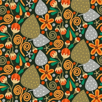 Brown exotic floral pattern