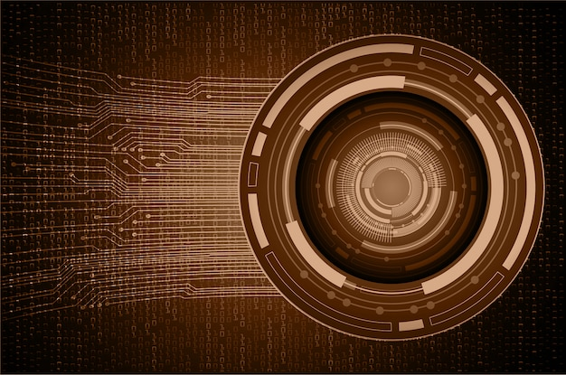 Brown eye cyber circuit future technology background