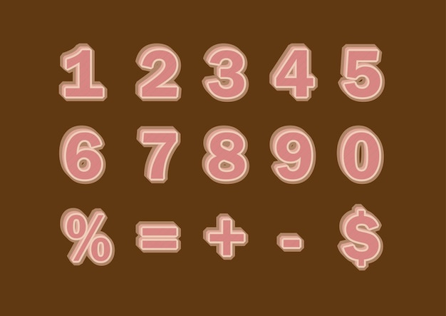 Brown fill 3d pattern numbers set
