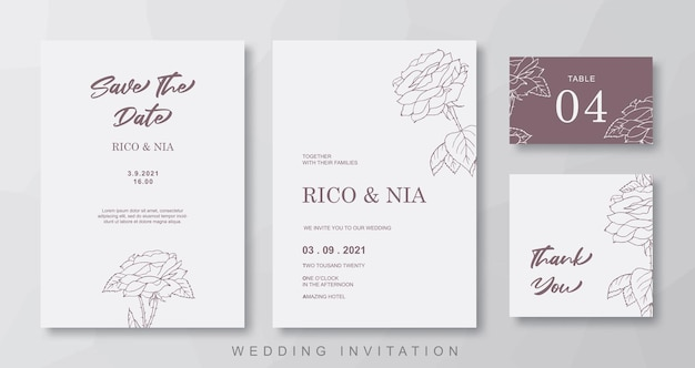 Brown floral line art wedding invitation template design