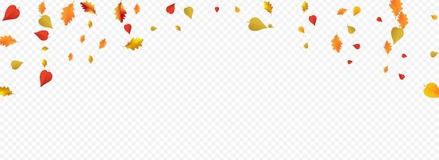 茶色の花のベクトルのパノラマの透明な背景。自然植物のテクスチャ。カラフルな空飛ぶ葉のイラスト。装飾デザイン。