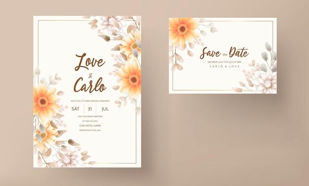 갈색 꽃 결혼식 초대 카드 세트 템플릿