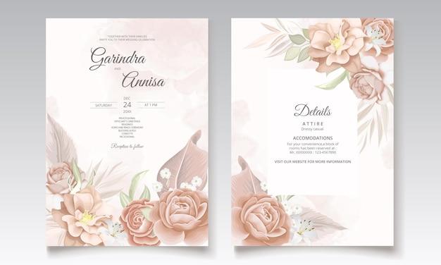 エレガントな葉の装飾が設定された茶色の花の結婚式の招待状のテンプレート