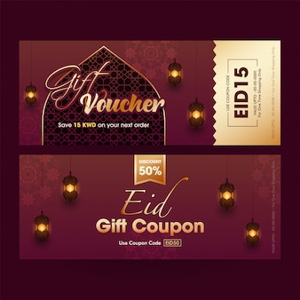 Brown gift voucher or coupon template design decorated with different