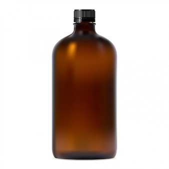 Brown glass brown. realistic transparent container