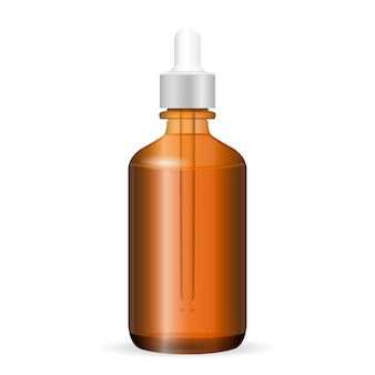 Brown glass cosmetic bottle with dropper.