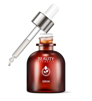 Brown glass dropper bottle for serum