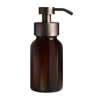 갈색 유리 펌프 병입니다. 액체 비누 디스펜서 캡 화장품 병. 현실적인 호박색 컨테이너는 비어 있습니다. 뷰티 로션 포장 템플릿 프리미엄 벡터