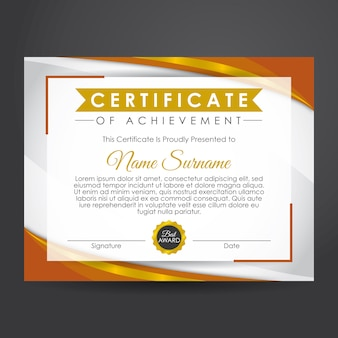 Brown and gold certificate of achievement