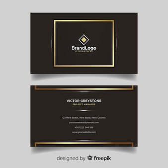 Brown and golden visiting card with logo