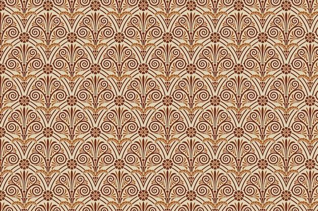 갈색 그리스 키 벡터 원활한 패턴 배경