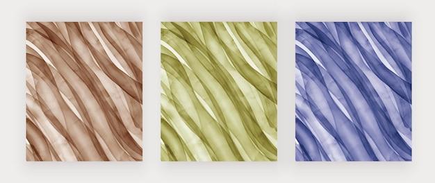 Коричнево-зеленый и синий акварельные текстуры Premium векторы