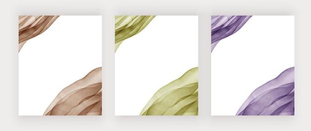 Коричнево-зеленые и фиолетовые акварельные линии