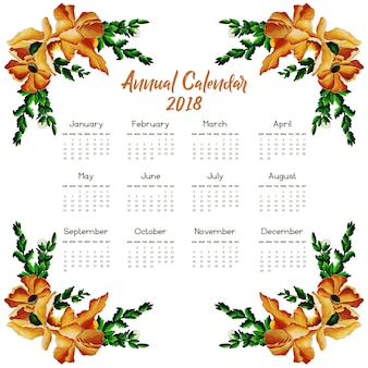 Brown and green floral calendar 2018