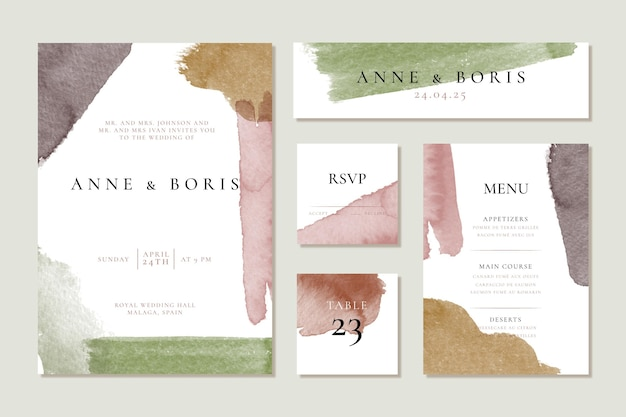 Brown and green watercolor wedding stationery items