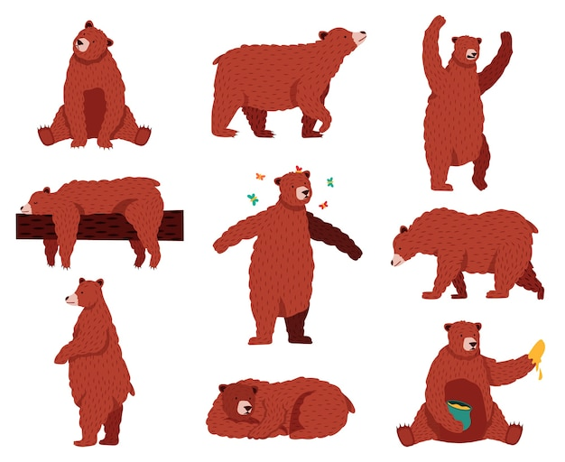 茶色のハイイログマ。漫画の野生のかわいいクマ、森の毛皮の動物、座って、遊んで、眠っている野生動物の哺乳類、面白いクマのイラストセット。クマの動物、野生の森の漫画、グリズリーブラウン
