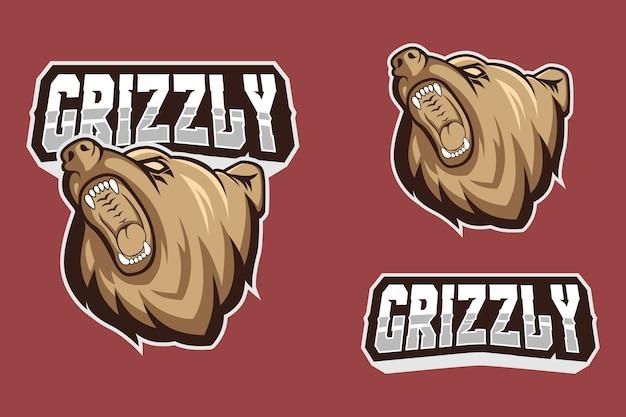 Brown grizzly bear mascot logo