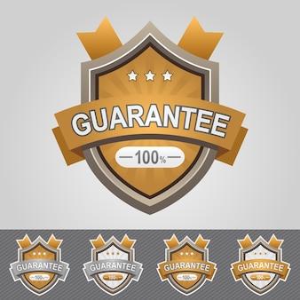 Brown guarantee shield icon. web badges.
