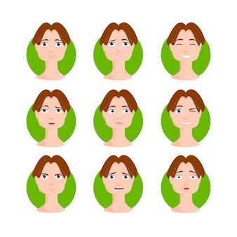 Brown haired man illustration set. brunette young male, boy in cartoon style with different facial expressions and emotions. character vector illustration.
