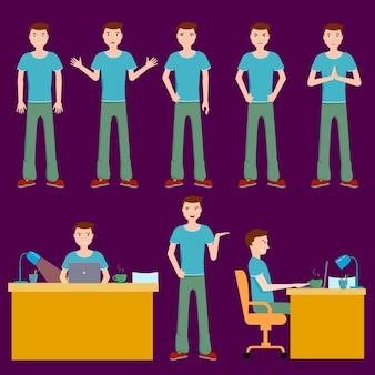 갈색 머리 남자 벡터 일러스트레이션 세트, 다양한 감정을 가진 다양한 포즈의 브루넷 남성, 테이블에 노트북을 들고 앉아 커피를 마십니다. 만화 스타일의 캐릭터.