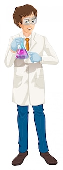A brown haired scientist holding a beaker