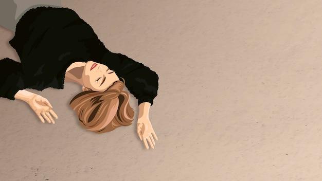 黒のふわふわのセーターを着た茶色の髪の女性