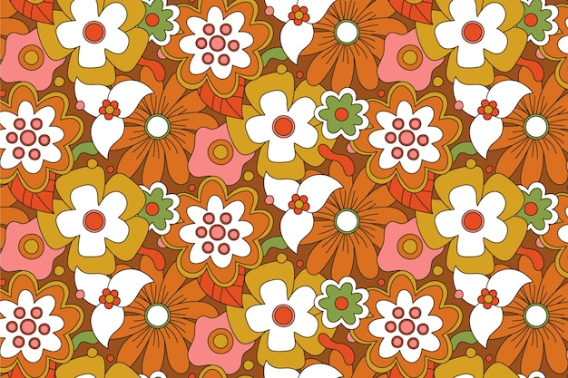 Brown hand drawn groovy floral pattern