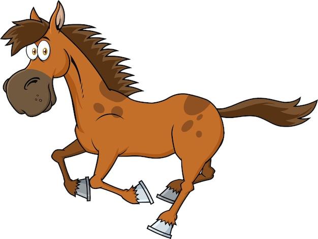茶色の馬の漫画のキャラクターを実行しています。