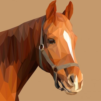 Brown horse head lowpoly illustration