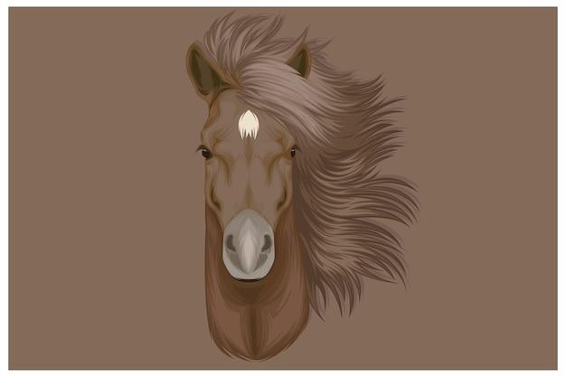 Коричневая лошадь с красивыми волосами