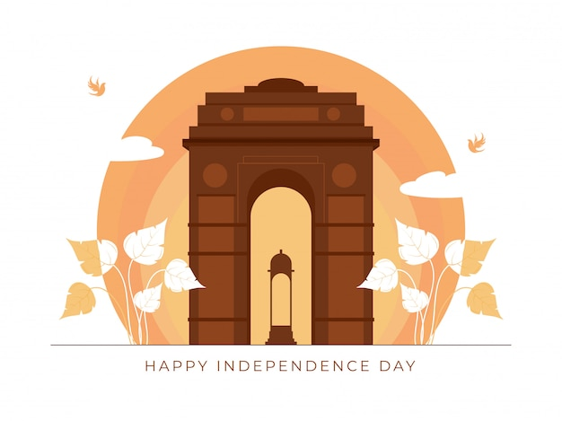 Brown india gate canopy with leaves and flying birds on peach circle shape for happy independence day concept.