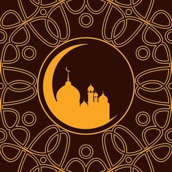 ブラウン色のイスラム花の背景