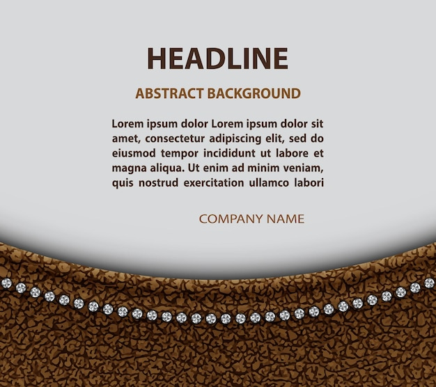 Brown leather arch design with diamonds.