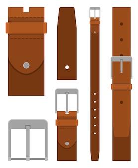 Коллекция коричневых кожаных ремней с пряжкой