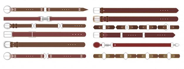 Коричневые кожаные ремни. кожаный ремень с металлической пряжкой на белом, ремешок элегантный предмет одежды.