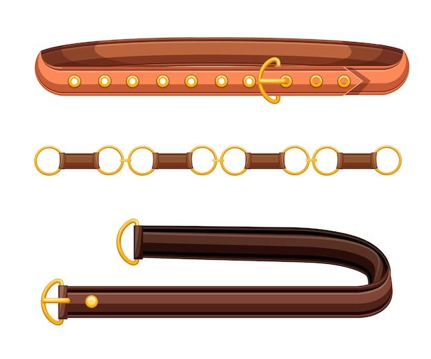 Ремни из кожи коричневого цвета с латунными пряжками