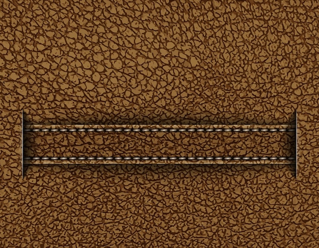 Brown leather design with horizontal stripe going from cuts.