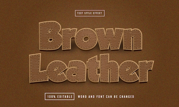 Brown leather text effect editable premium free download