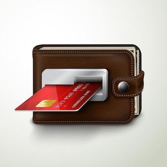 갈색 가죽 지갑 atm 은행 기계