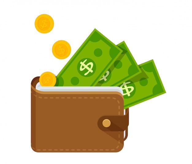 Коричневый кожаный кошелек с большим количеством денег