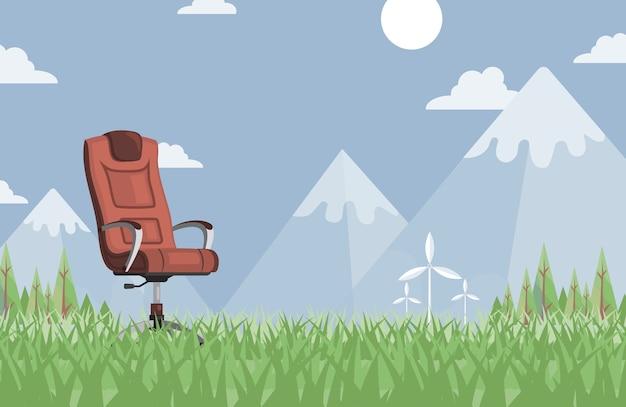夏の牧草地の茶色の革のワークチェア